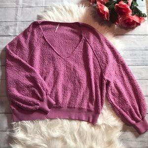 Free People Lilac V-neck Popcorn Oversized Sweater